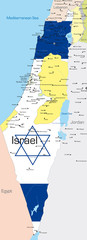 map of Israel country colored by national flag.