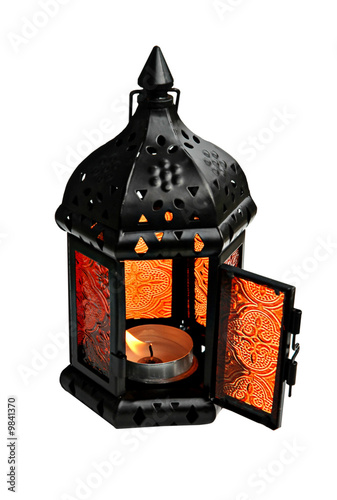 Decorative small lamp with a candle