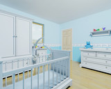 3D render of a nursery for a baby boy poster