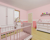 3D render of a nursery for a baby girl poster