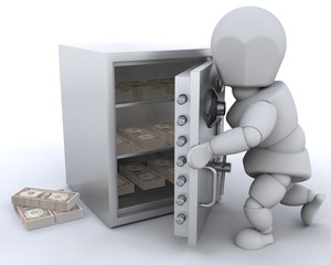 3D render showing someone stashing money in a safe