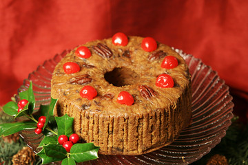 Delicious holiday fruitcake garnished with cherries