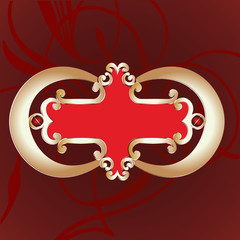 Ornate Gold Red Banner