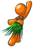 An orange woman doing the hula and dancing.