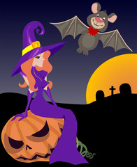 Halloween witch, bat and pumpkin, vector illustration