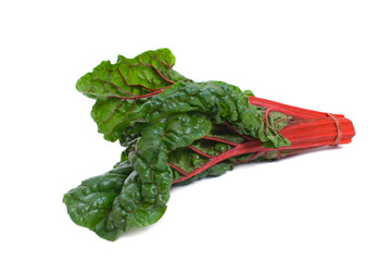 Bunch of red stalked silverbeet isolated over white background