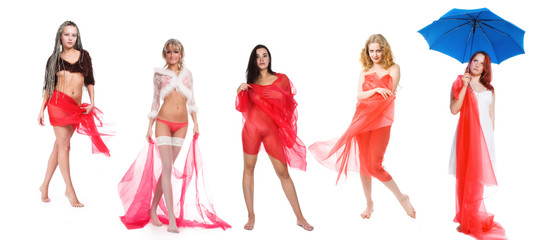 Five girls in red on a white background