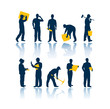Workers vector silhouettes - 9851940