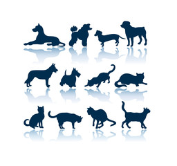 Dogs and Cats vector silhouettes