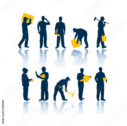 Sylwetki pracowników wektor