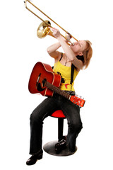 girl with the guitar and trombone