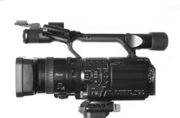 sideview of professional HDV camcorder isolated on white