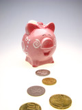 piggy bank and is a lot of coins of euro poster
