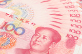 Closeup of china one hundred yuan bills poster