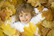 Cute girl in  autumn leaves portrait