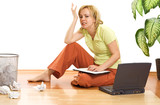 Woman working on the floor stressed and upset - isolated poster