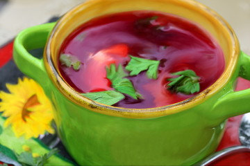 Bowl with russian beets soup, borshch