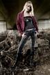 Standing fashion shoot of Paris Hilton look-a-like