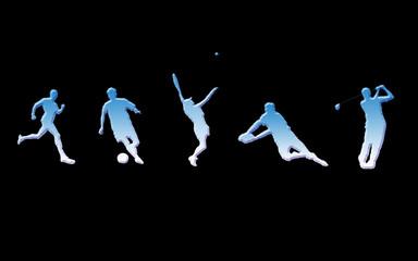 Sports illustrés bleu blanc et noir