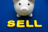 Piggy bank with letters spelling sell, investing your savings poster