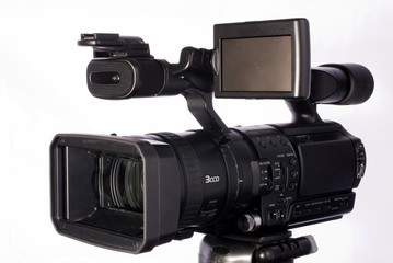 professional HDV camcorder isolated on white