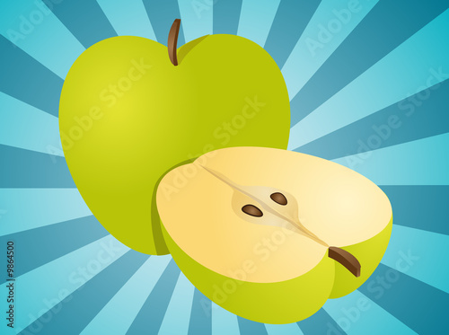 Apple illustration whole and half cross-section