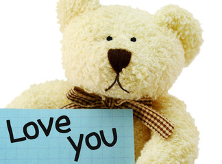 """Teddy bear toy with """"Love you"""" note on white background"""