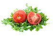Ripe tomato and half with some parsley isolated on the white