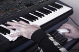 The electronic piano. A photo close up poster