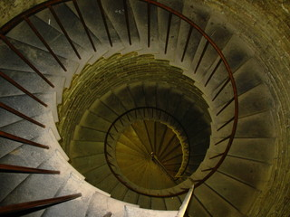 Old spiral spin stair in in ancient tower