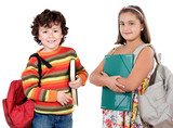 Two children students returning to school on a white background poster