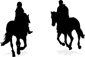 two girl horseback riding silhouettes