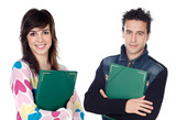 Couple of teen students returning to college isolated poster