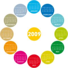 colorful calendar for 2009. circles design.