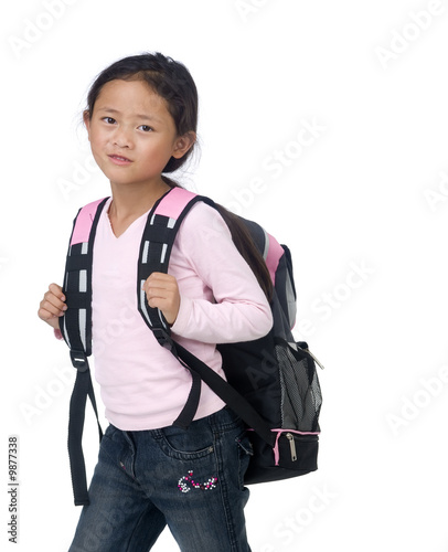 A young asian school girl ready for class.