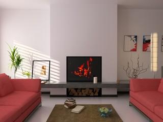 modern interior ( 3d rendering ).