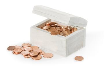 Treasure  chest full of copper coins.