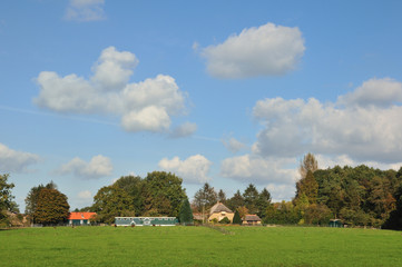 Landscape with farmhouses in Holland