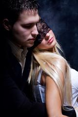 young couple in love, studio dark