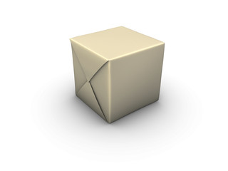 An isolated box wrapped in paper on white background