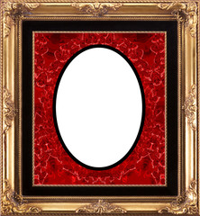 Velvet Red Vintage Ornate Frame - isolated clipping path