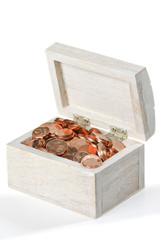 Treasure  chest full of copper coins.