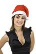Chica sonriente con gorro de Papá Noel