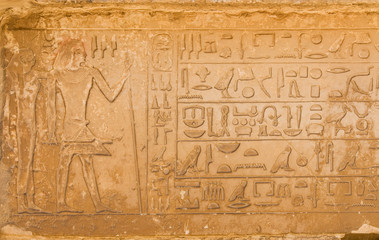 egyptian hieroglyphics from saqqarah, cairo