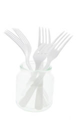 Plastic Forks in Glass Jar on White Background