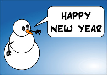 snowman wishing a happy New Year to all