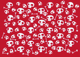 Pattern made of funny skulls and bones