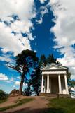 Shrine of Neptune over fantastic sky at Monrepos, Vyborg, Russia poster