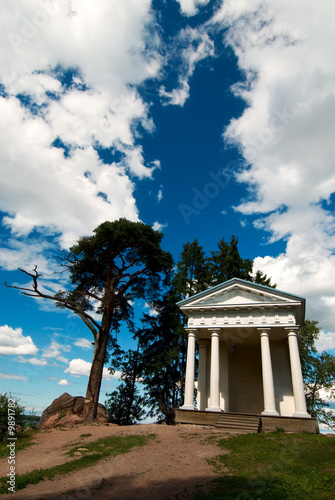 Shrine of Neptune over fantastic sky at Monrepos, Vyborg, Russia