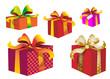 Paquets cadeaux rose, rouge et orange